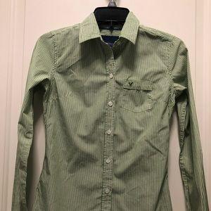 American Eagle Green White Stripes Button Shirt 00